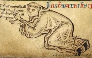 Matteo Paris in un autoritratto (codice Royal 14 C VII)