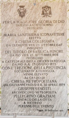 Basilica Cattedrale – Epigrafe commemorativa 1