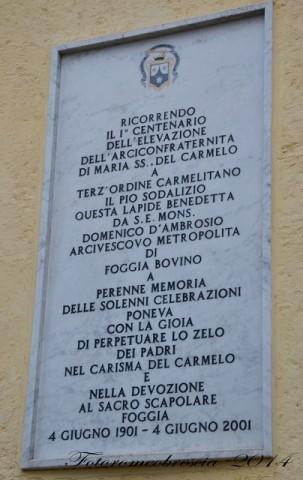 Chiesa del Carmine (antica) – epigrafe commemorativa del 1° centenario dell'elevazione dell'arciconfraternita di Maria SS. Del Carmelo a terz'Ordine Carmelitano